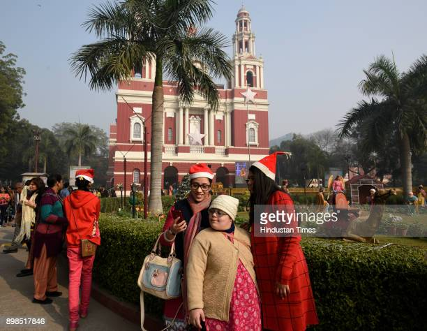 People visit church on the occasion of Christmas at Sacred Heart Chathedral on December 25 2017 in New Delhi India Christmas marks the annual...