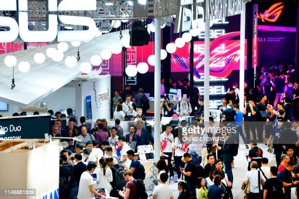 People visit Computex at Nangang exhibition centre in Taipei on May 28, 2019.
