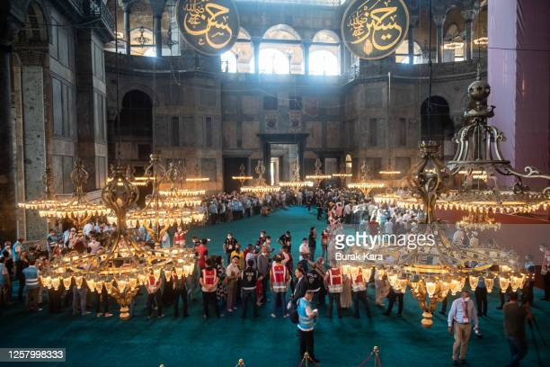 People visit Hagia Sophia Mosque after the first official Friday prayers on July 24, 2020 in Istanbul, Turkey. Turkey's President Recep Tayyip...