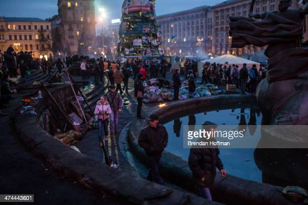 People visit Independence Square for what has become a traditional Sunday gathering to protest the government on February 23 2014 in Kiev Ukraine...