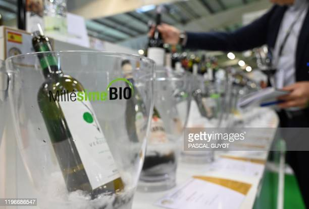 People visit Millesime Bio 2020 an international organic wine fair on January 27 2020 in Montpellier southern France The event aims at promoting...