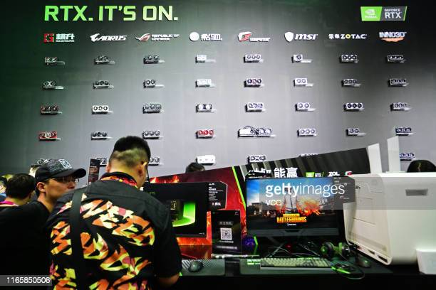 People visit Nvidia booth on day one of the 2019 China Digital Entertainment Expo & Conference at Shanghai New International Expo Center on August 2,...