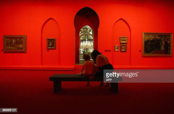 People visit on July 10 2009 in Monaco the exhibition Moscou Slendeur des Romanov onh the eve of its inauguration at Grimaldi Forum in MonacoThe...