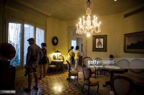 People visit one of the apartments of Antoni Gaudi's building 'La Pedrera' or 'Casa Mila' on July 24 2013 in Barcelona Spain Foreign visitors to...