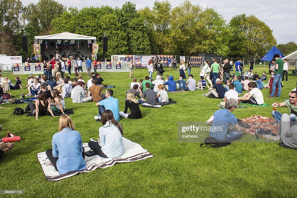 People visit Panama Open Air Festival : Stock Photo