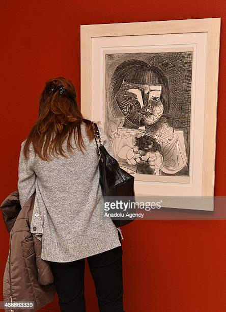 People visit Picasso's Engravings and Ceramics from the House of His Birth art exhibition on February 4 2014 in Istanbul Turkey Picasso's Engravings...
