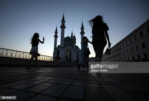 People visit Qolsharif mosque at Kremlin in Kazan on July 4 2018 during the Russia 2018 World Cup football tournament
