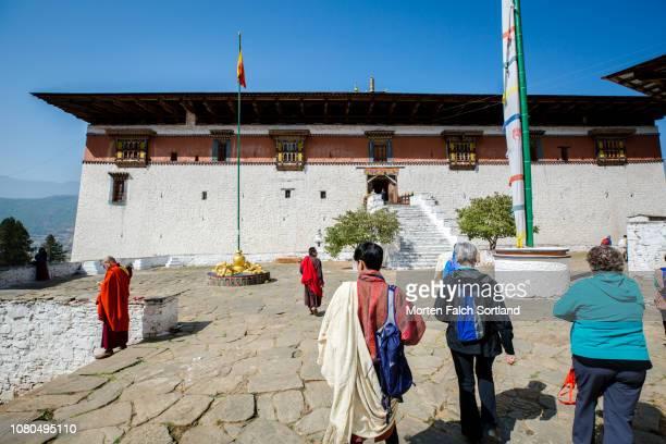 People Visit Rinpung Dzong Monastery for Paro Tsechu Celebrations in Paro, Bhutan Springtime