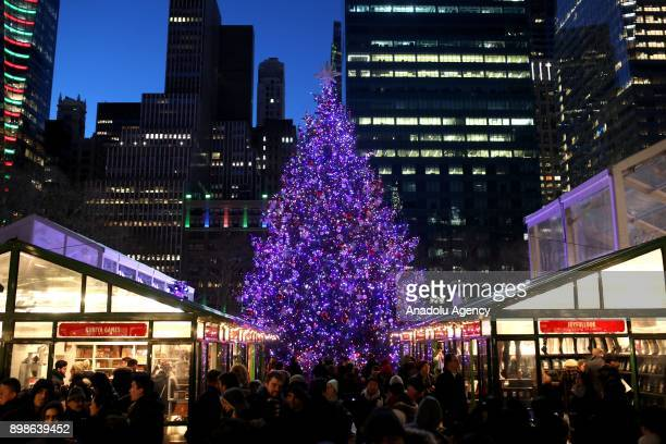 People visit shops at Bryant Park in New York City USA on December 26 2017
