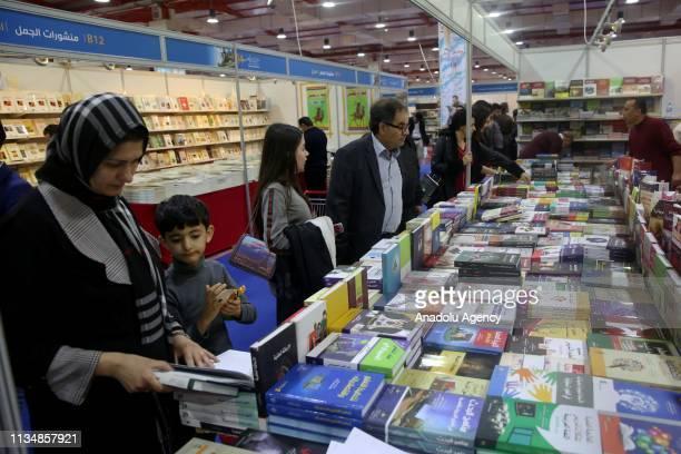 People visit the 14th Erbil International Book Fair at the Sami Abdurrahman Park in Erbil Iraq on April 04 2019
