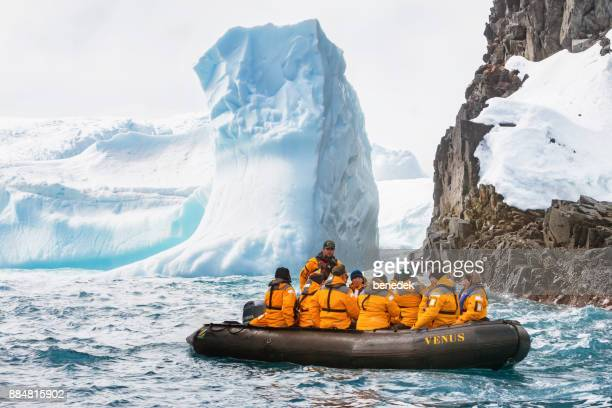 People visit the Antarctic coastline