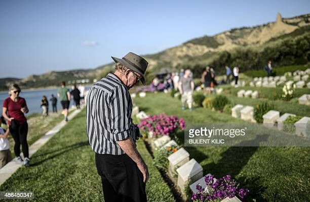 People visit the Anzac soldiers cemetery near the Anzac cove during the ceremony celebrating the 99th anniversary of the Anzac Day in Canakkale on...