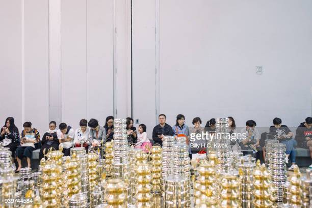 People visit the Art Basel Hong Kong on its first day open to the public at the Art Basel Hong Kong fair on March 29 2018 in Hong Kong Hong Kong The...
