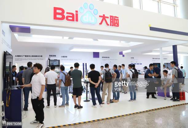 People visit the Baidu Create 2019 - Baidu AI Developer Conference at China National Convention Center on July 3, 2019 in Beijing, China. The Baidu...