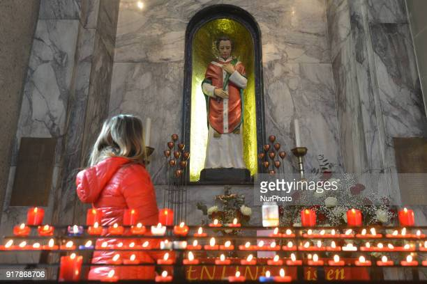 People visit the chapel with the statue of patron saint of love St Valentine inside Whitefriar Church in Dublin St Valentine the patron saint of love...
