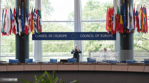 People visit the Committee of Ministers meeting room during the open day marking the 70th Anniversary of the Council of Europe on May 5 in...