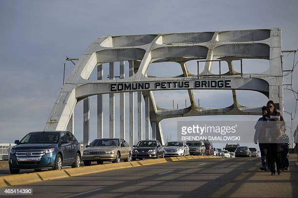 People visit the Edmund Pettus Bridge on March 6, 2015 in Selma, Alabama. The march from Selma to Montgomery, which US President Barack Obama will...