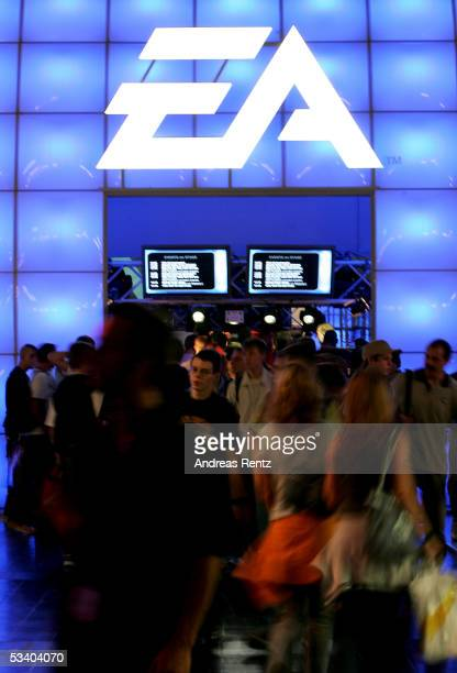People visit the Electronic Arts area at a Computer Gaming Convention on August 18 2005 in Leipzig Germany The convention is Germany's largest fair...
