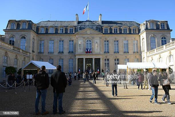 People visit the Elysee Presidential Palace during the 30th edition of France's European heritage days on September 15 2013 in Paris France Monuments...
