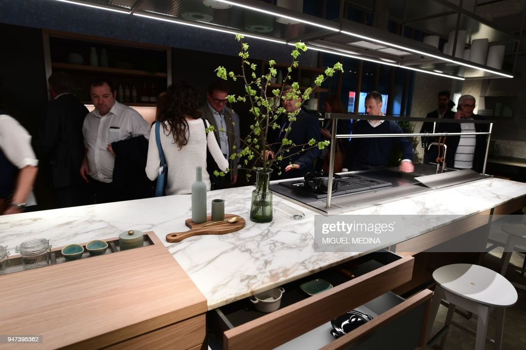 People visit the Ernestomeda Cucine stand during the 57th edition of ...