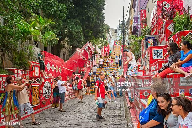 People visit the Escadaria Selaron in Rio de Janeiro Brazil