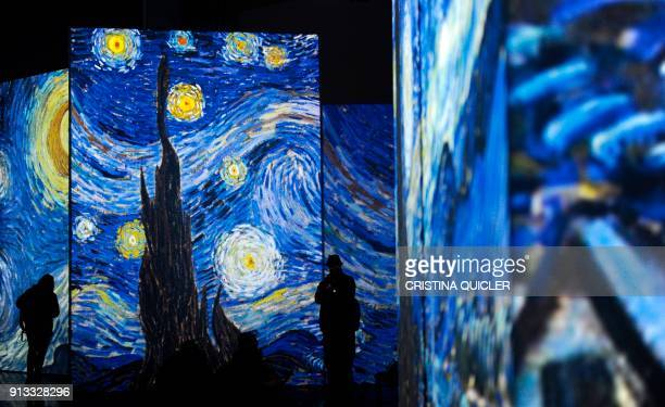 People visit the exhibition Van Gogh Alive The Experience life and work of Vincent Van Gogh from 1880 until 1890 on February 02 2018 in Sevilla...