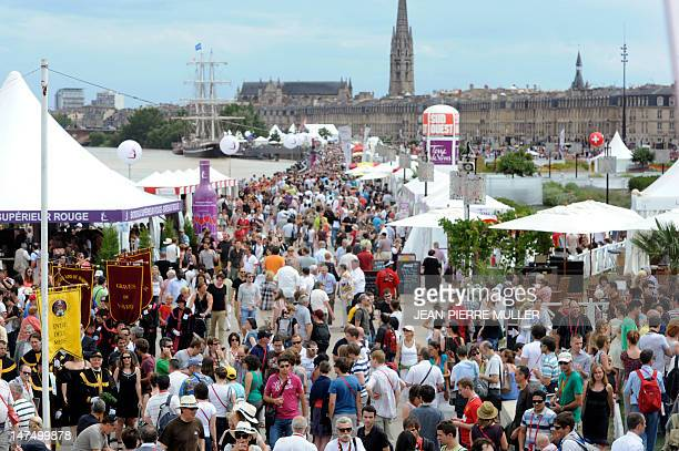 People visit the Fete du vin in the French southwestern city of Bordeaux on June 30 2012 The event runs from June 28 to July 1 2012 AFP PHOTO / JEAN...