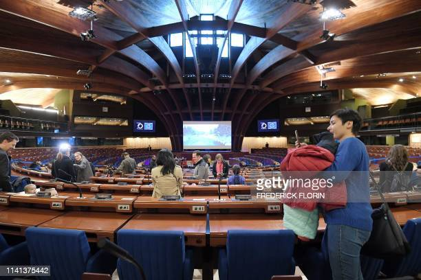 People visit the hemicycle of the Council of Europe during the open day marking the 70th Anniversary of the Council of Europe on May 5 in Strasbourg,...