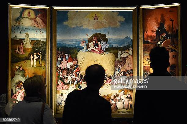 People visit the 'Hieronymus Bosch Visions of a Genius' exhibition during a press preview at the Noordbrabants Museum in Den Bosch on February 11...