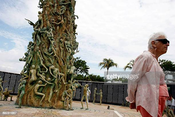 People visit the Holocaust Memorial during Yom HaShoahHolocaust Remembrance Day on April 21 2009 in Miami Beach Florida Holocaust Remembrance Day is...