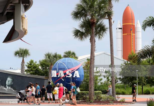 People visit the Kennedy Space Center Visitor Complex as Hurricane Dorian approaches on August 30, 2019 in Cape Canaveral, Florida. Its been...