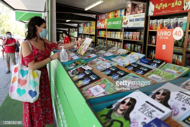 People visit the Lisbon Book Fair 2020 at the Parque Eduardo VII in Lisbon, Portugal on August 27, 2020. The 90th edition of the Lisbon Book Fair,...