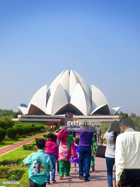 People visit the Lotus Temple in New Delhi, India