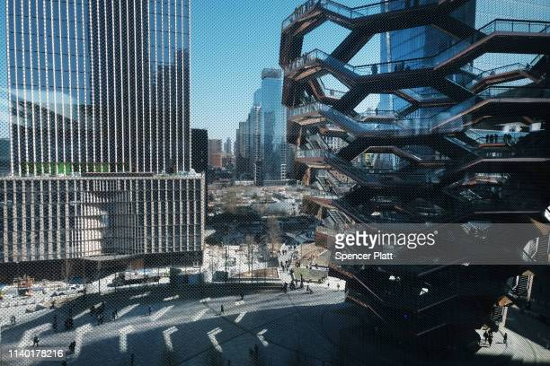 People visit the main square as viewed from the new cultural space The Shed at Hudson Yards on April 03, 2019 in New York City. With aims to be the...