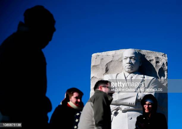 TOPSHOT People visit the Martin Luther King Jr Memorial in Washington DC on Martin Luther King Day on January 21 2019