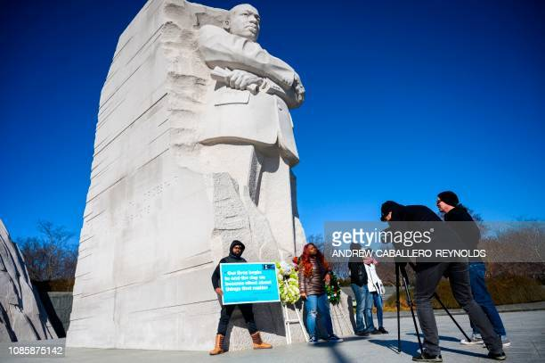 People visit the Martin Luther King Jr Memorial in Washington DC on Martin Luther King Day on January 21 2019