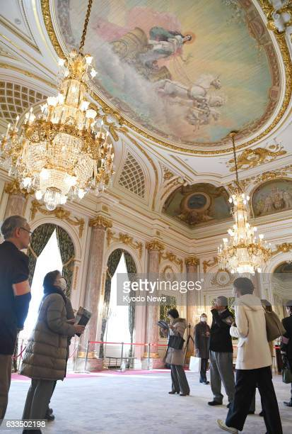 People visit the most prestigious room 'Asahi no Ma' of the State Guest House Akasaka Palace in Tokyo on Feb 2 2017 The room for distinguished guests...