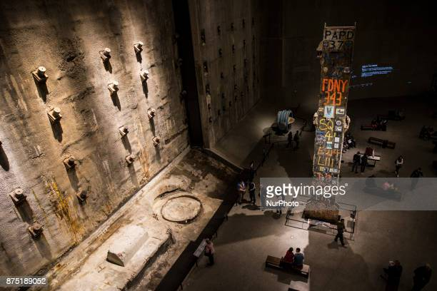 People visit the National 9/11 Memorial Museum in New York United States on October 12 2017 The National 9/11 Memorial Museum was opened to the...