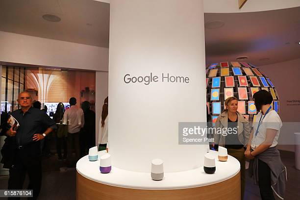 People visit the new Google popup shop in the SoHo neighborhood on October 20 2016 in New York City The shop lets people try out new Google products...