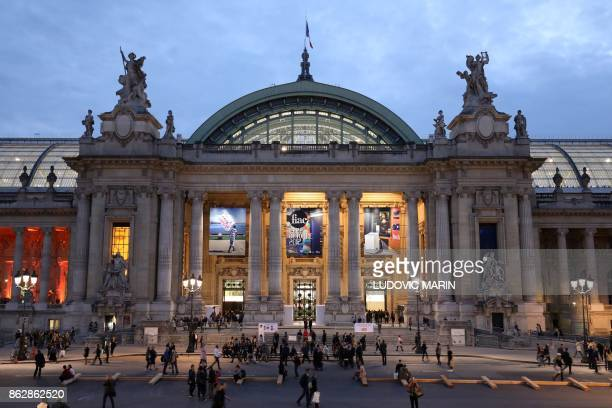 People visit the Paris International Contemporary Art Fair at the Grand Palais in Paris during the press opening on Octobre 18 2017 / AFP PHOTO /...