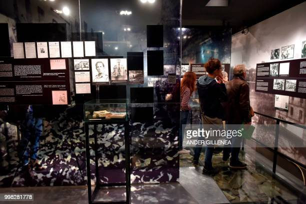 People visit the Peace Museum in the Spanish Basque village of Guernica on May 4 2018 In Spain the issue of remembrance is especially relevant as its...