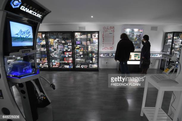 People visit the 'Pixel Museum' the museum of video games connected leisure and video game art on its opening day on February 25 2017 in Schiltigheim...