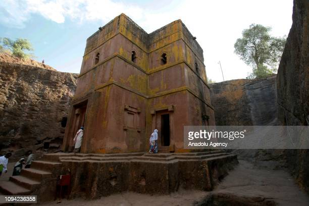 People visit the rockhewn monolithic Church of St George in Lalibela on February 01 2019 The 11 medieval monolithic cave churches of this 13thcentury...