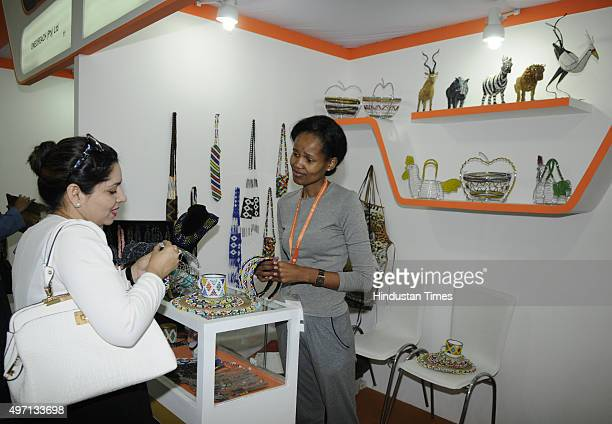 People visit the South Africa pavilion Hall no 18 during the 35th Indian International Trade Fair 2015 at Pragati Maidan on November 14 2015in New...