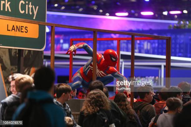 People visit the stand of Marvel SpiderMan in October 26 during the 2018 Paris Games Week exhibition at the Porte de Versailles exhibition centre in...