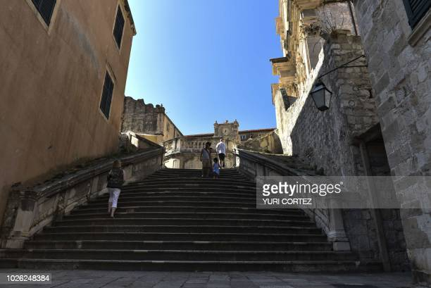 People visit the walled Old Town of Dubrovnik in Croatia on September 2 2018
