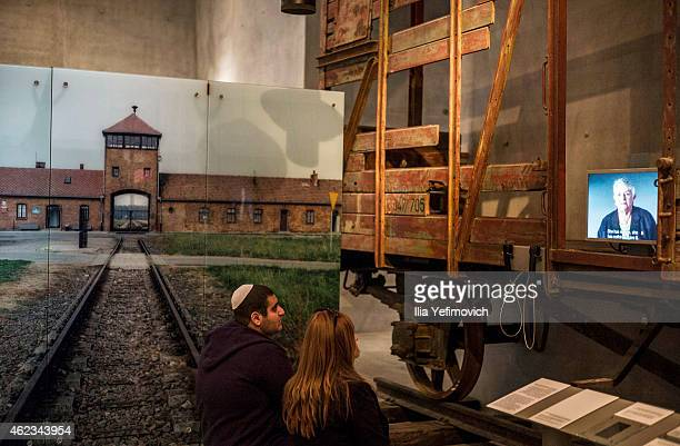 People visit the Yad Vashem museum to see the exhibition and commemorate International Holocaust day on January 27 2015 in Jerusalem Israel Thousands...