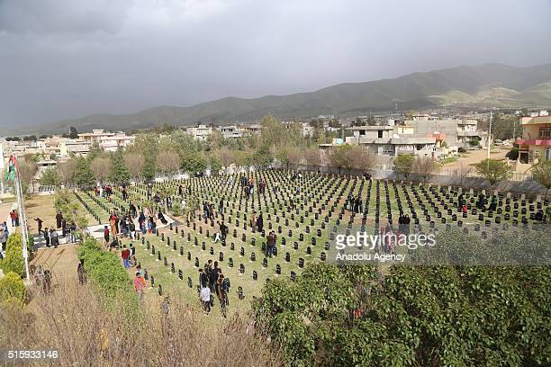 People visit their relatives' Mausoleums during 28th anniversary of the Halabja Massacre in Sulaymaniyah, Iraq on March 16, 2016. The Halabja...