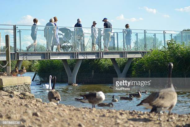 People visiting Attenborough Nature Reserve on August 29 the August bank holiday Monday, in Nottingham, England.