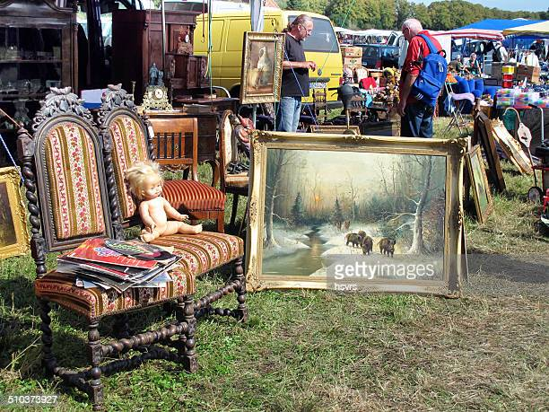 people visiting big flea market in havelberg (germany) - garage sale stock pictures, royalty-free photos & images